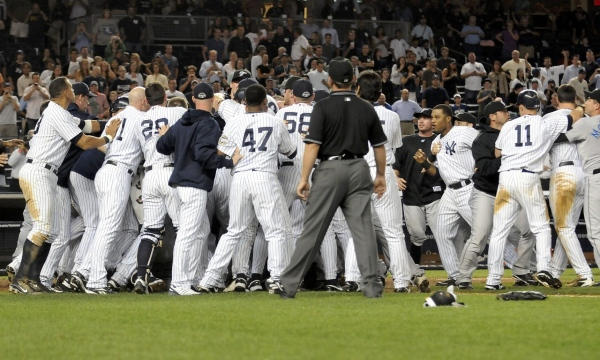 The Yankees engaged in their first brawl inside the new Yankee Stadium. They fought the Blue Jays