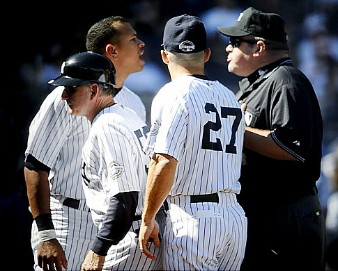 Yankee Manager Joe Girardi and third baseman Alex Rodrguez were ejected by home plate ump Marty Foster on Sunday afternoon