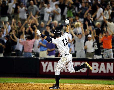 Alex Rodriguez homered in the 11th to tie game two at three