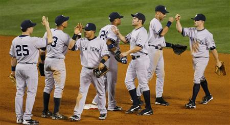 The Yankees won Game Four of the ALCS, 10-1