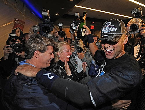 Derek Jeter celebrates his seventh pennant, the Yankees 40th World Series appearance