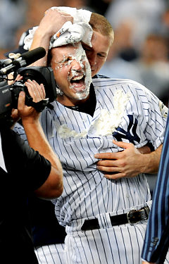 Mark Teixeira receives a pie to the face from Friday's starter A.J. Burnett