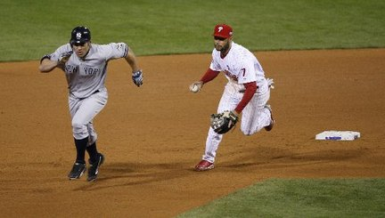 After a two-out single, Johnny Damon stole two bases in one play