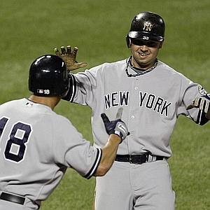 Nick Swisher hit his first home run in the World Series in game two