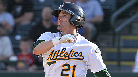 Grant Desme was ranked as the A's 8th top prospect