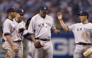 Would Sabathia have stayed in the game of he had gotten Shoppach out?