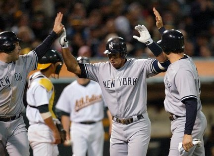 A-Rod tripled and then scored on a triple by Cano