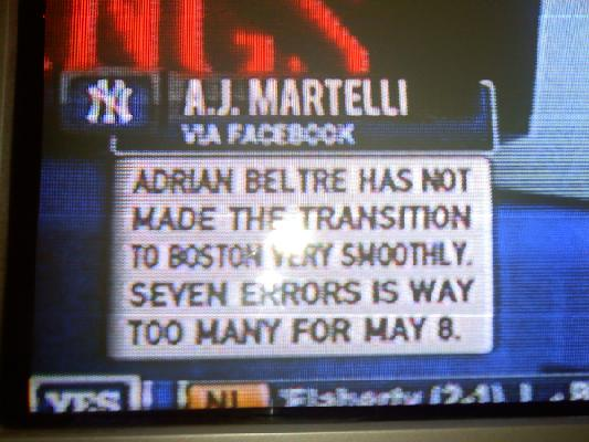 The Yes Network used my comment on TV!