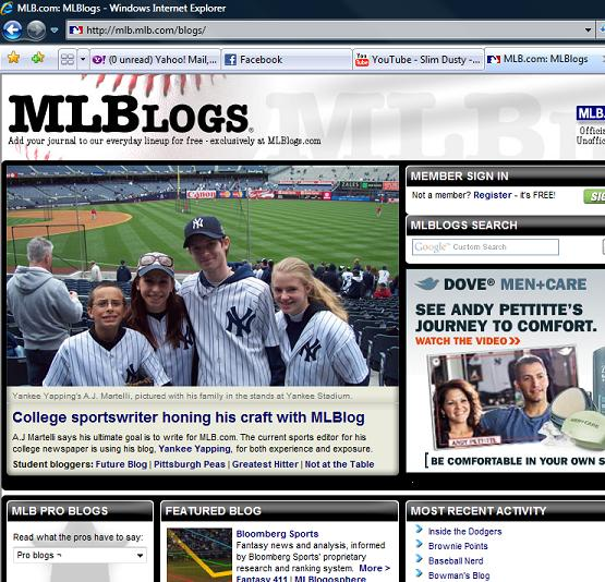 On the main page of MLBlogs!