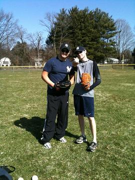 Yesterday me and buddy Brian played baseball at the park.