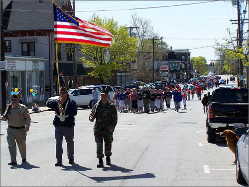 I walked with my team in the Opening Day parade. They were defending champions.