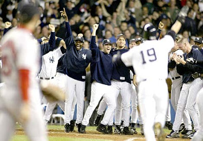 Aaron Boone after hitting homerun in 2003 ALCS